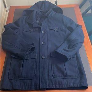 Men's Blue Perry Ellis Portfolio Wool Peacoat!